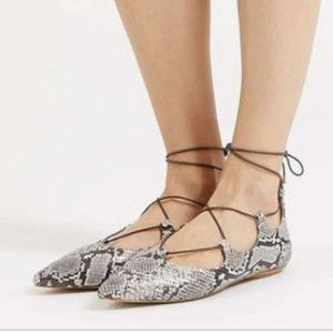 TopShop Python Snake Lace Up Ghillie Flats 8.5